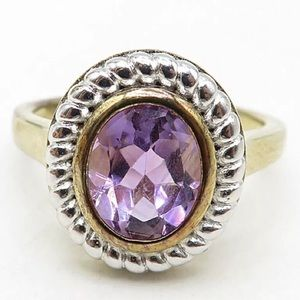 AMETHYST TWO TONE RING